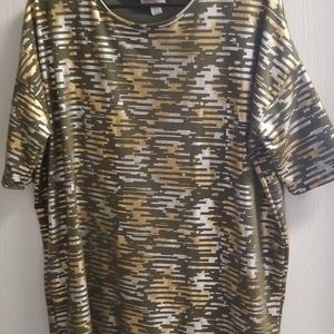 Gold and silver lularoe top